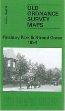 OLD ORDNANCE SURVEY MAP FINSBURY PARK & STROUD GREEN 1894