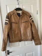 Mens Tan Lambretta Leather Biker, Cafe Racer Style Jacket, Size Large