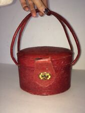 Vintage Mexicalli Oval Tole Red Leather Purse Western
