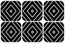 BLACK AND WHITE PATTERN COASTERS x 6 NON SLIP NON FADE