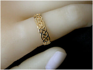 Gold CELTIC Band UK M solid 9ct Yellow Gold Birmingham HM Beautiful Quality