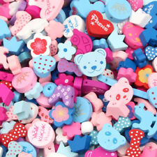 100pcs Various Candy Wood Beads Pacifier Clip Necklace DIY Wooden Spacer Beads