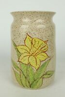 "Brown Speckled Glazed w/ Yellow Daffodil Handmade Stoneware Vase Crock 8"" Tall"