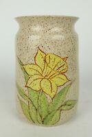 "Brown Speckled Glazed w/ Yellow Daffodil Handmade Stoneware Vase Crock 8"" Tall"
