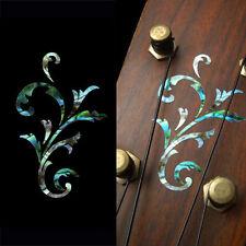 Small Vine (Abalone Blue) Inlay Sticker Headstock Peghead Ukulele Mandolin