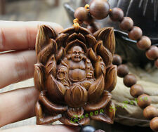 Wood Carved & Buddhism Beads Lotus Happy Buddha Statue Sculpture Amulet W180
