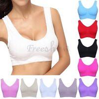 Women Yoga Fitness Stretch Workout Tank Top Seamless Padded Sports Bra Vest Tops