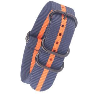 Strong Orange Stripe PVD Black Buckle Nylon Watchband Watch Strap Band Sport