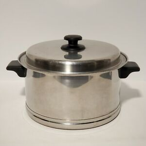 Vtg Lifetime Cookware Stainless Steel 6 Quart Stock Pot with Lid *Small Flaw*