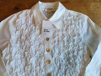 NWT Talbots Petites Womens Sz 2 Button Up Blouse Ruffles Stretch L/S Cotton B35