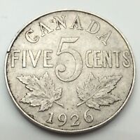 1926 Canada Near Six 6 Five 5 Cents Canadian Nickel Circulated Coin C679z