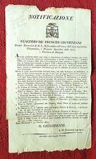 G292-BOLOGNA, CARDINALE GIUSTINIANI, PRIVATIVA AL TIPOGRAFO PARMEGGIANI, 1815