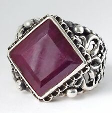 Ruby Ring Unique Sterling Silver Handmade Mens Jewelry natural red ruby yaqoot