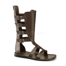PLEASER FUNTASMA Spartan-105 Brown PU Gladiator Fancy Dress Mens Strappy Sandals