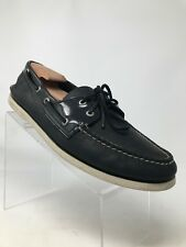 Sperry Top-Sider AO Black Leather Moc Toe 2-Eye Boat Shoes Men 13 M