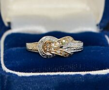 Vintage 9ct Gold & DIAMOND Unusual LOVE KNOT White & Yellow Gold RING - Sz N