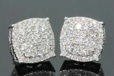 Mens Womens 14K White Gold Over 1.50Carat D/VVS1 Diamond Cluster Stud Earrings