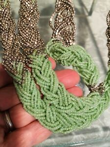 """Ann Taylor LOFT Silver Tone Mint Green Glass Seed Bead Braided Long Necklace 34"""""""