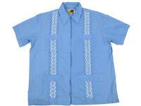 Casual Guayabera Short Dress Shirt Men's Full Zip Blue Large Polyester Genuine