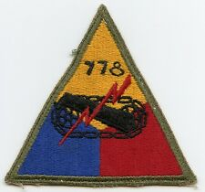 WWII US Army 778th Tank Battalion Patch with Hand-Applied Number