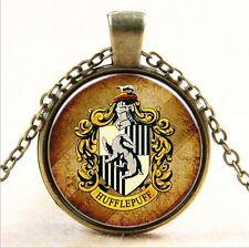 Vintage Harry Potter Cabochon Glass Bronze Chain Pendant Necklace