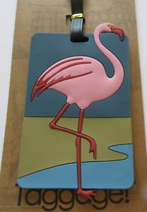 Luggage Tag -FLAMINGO- pink blue  rectangular -use for kids & adults