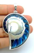 ELEGANT BLUE NAUTILUS SHELL 925 STERLING SILVER pendant: SA060-L