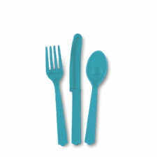 18 Piece Plastic Cutlery Set - Solid Colours Wedding Birthday Anniversary