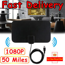 Thin Freeview Indoor Amplified Digital TV Aerial HDTV Antenna 50 Mile Range