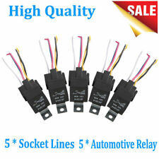 5 Pack 12V 30/40 Amp 5Pin SPDT Automotive Relay with Wires Harness Socket Set US