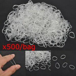 Lot 500x MINI CLEAR HAIR ELASTICS Braids Rubber Band Dreads Hair Jewellery Transparent