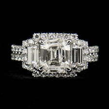 18k White Gold Three Stone Diamond Ring (1.52ct Emerald Cut) EGL Certified