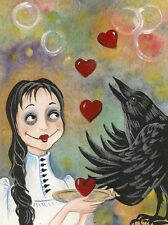 1.5x2 DOLLHOUSE MINIATURE PRINT OF PAINTING RYTA 1:12 SCALE VALENTINES DAY CROW