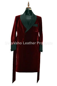 Men Elegant Luxury Designer Quilted Lapels Belted Smoking Long Dressing Gowns