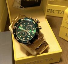 $895 Invicta Pro Diver Green SCUBA 80072 Men's 48mm Watch Gold Timepiece