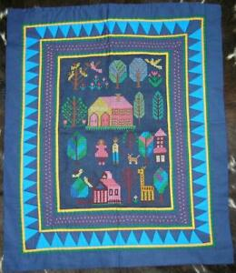 "Panama Quilted Embroidered Storyboard of Village Life Wall Hanging 25"" x 20"""