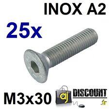 25x Vis FHC (BTR) - M3x30 - INOX A2 - DIN 7991 - 6 pans creux
