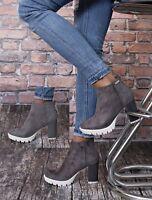 NEU Plateau Stiefel Pumps High Heels Damenschuhe Ankle Boots WoW 35-40 grau