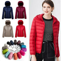 US Packable Women's Duck Down Coat Ultralight Hoodie Hooded Jacket Puffer Parka