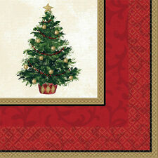 """16 Classic Christmas Tree Elegant Party 6.5"""" Paper Lunch Napkins"""