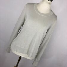Madewell S Small Gray Knit Sweater Front White Shirt Black High Low Womens P1