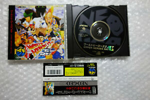 """World Heroes 2 Jet + Spine Card """"Very Good Condition"""" SNK Neo Geo CD Japan"""