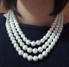 Faux Pearl Multi Layer Necklace Ladies Statement Bib Beaded Vintage Chunky