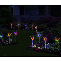 Solar Powered Color Change LED Garden Lamp Butterfly Stakes Lights Lawn Ornament