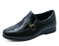 BOYS KIDS JUNIOR BLACK SCHOOL SLIP-ON SMART WEDDING LOAFERS SHOES SIZES 8-6