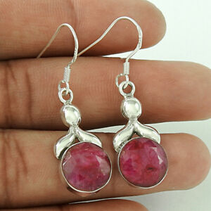 Round Shape Natural Ruby Gemstone Earrings 925 Solid Sterling Silver Jewelry U81