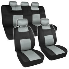 Two Tone Polyester Breathable Mesh Seat Cover Set for Car Truck SUV - Gray/Black