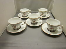 LOT OF 5 CUPS AND SAUCERS Cmielow Poland RED BIRD ROBIN ??