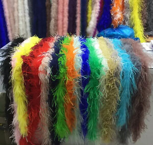 Beatiful Quality 2 meters 2 Ply ostrich feather boa Decorative diy ManY colors