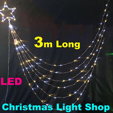 COOL WARM WHITE LED Waterfall Star 3m Strands Shooting Outdoor Christmas Lights
